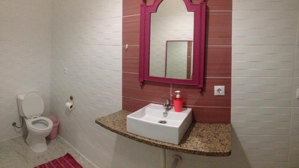 A bathroom at Hostel das Flores