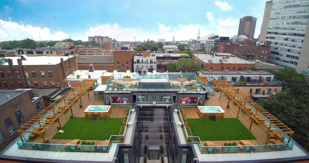 A bird's-eye view of M Montreal Hostel