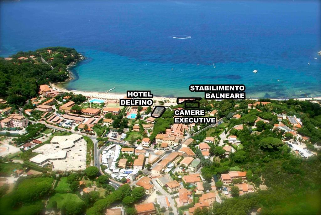 A bird's-eye view of Hotel Delfino