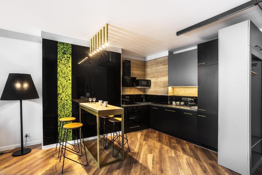 A kitchen or kitchenette at Apartamenty Nowa Kamienica Częstochowa Centrum Szymanowskiego 22A