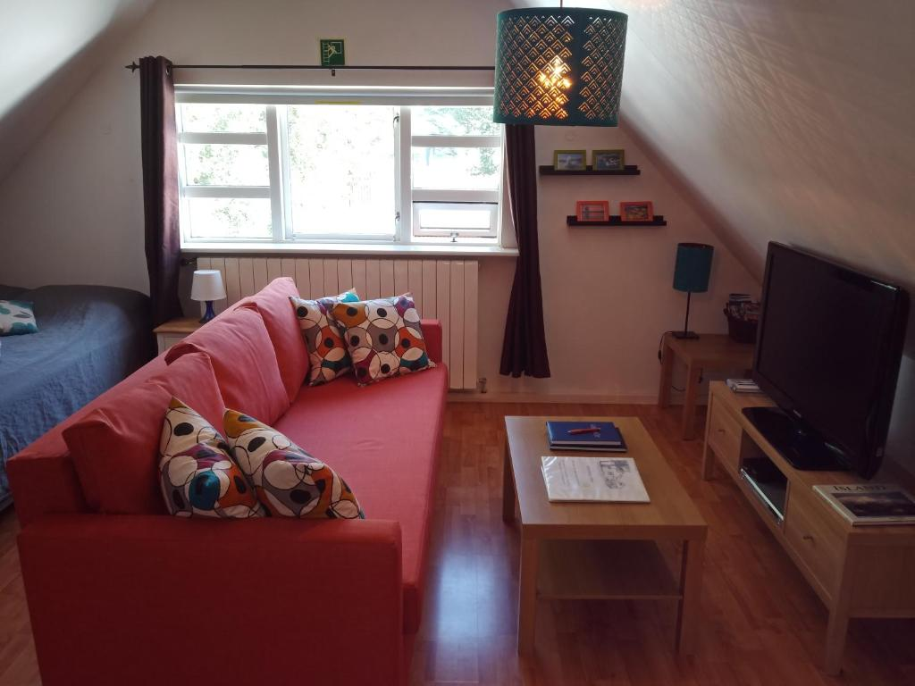 A television and/or entertainment centre at Tryggvagata Apartment