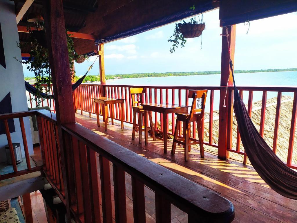 A balcony or terrace at Hostel Blue Sea Rincon del Mar