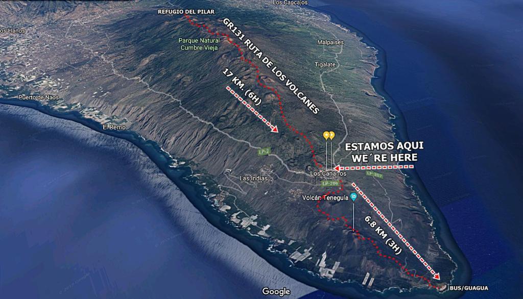 A bird's-eye view of Pensión Los Volcanes