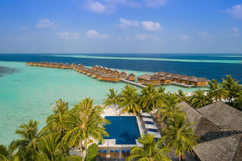 Вид на бассейн в Vilamendhoo Island Resort & Spa или окрестностях