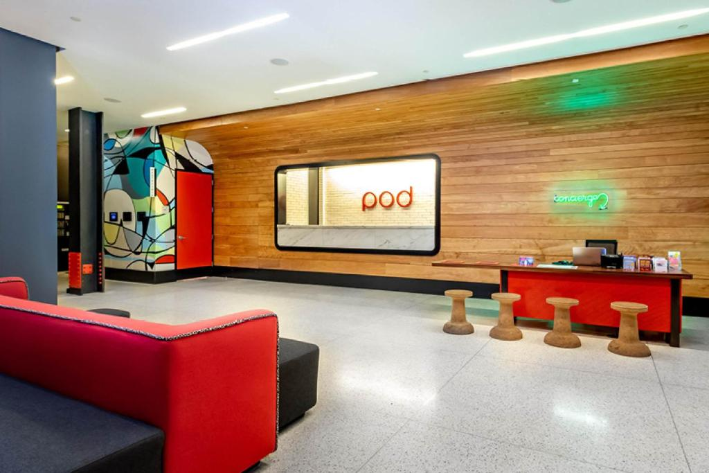 The lobby or reception area at Pod 39