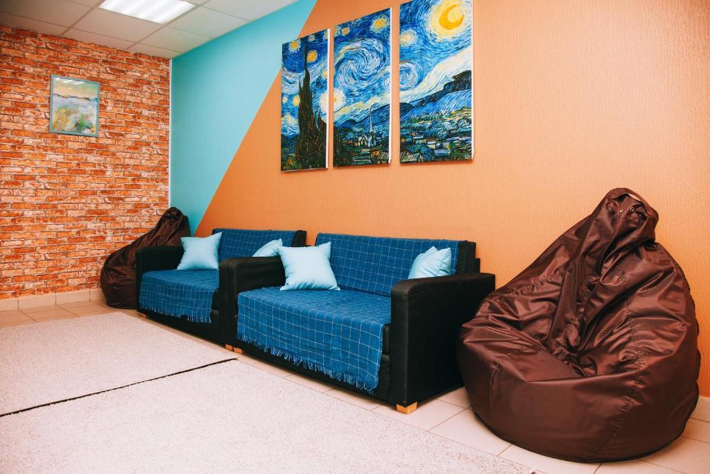 A seating area at Apartamenty Kalina na Prospekt Pobedy, 18-166