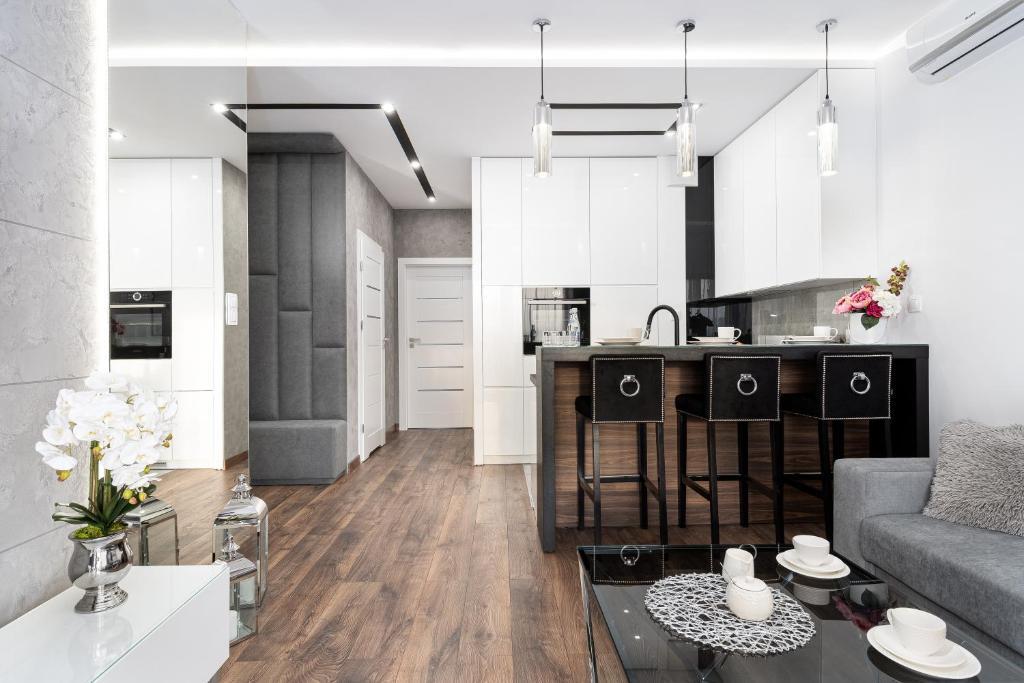 Kuchyň nebo kuchyňský kout v ubytování Crystal Luxury Apartments Rakowicka 20H