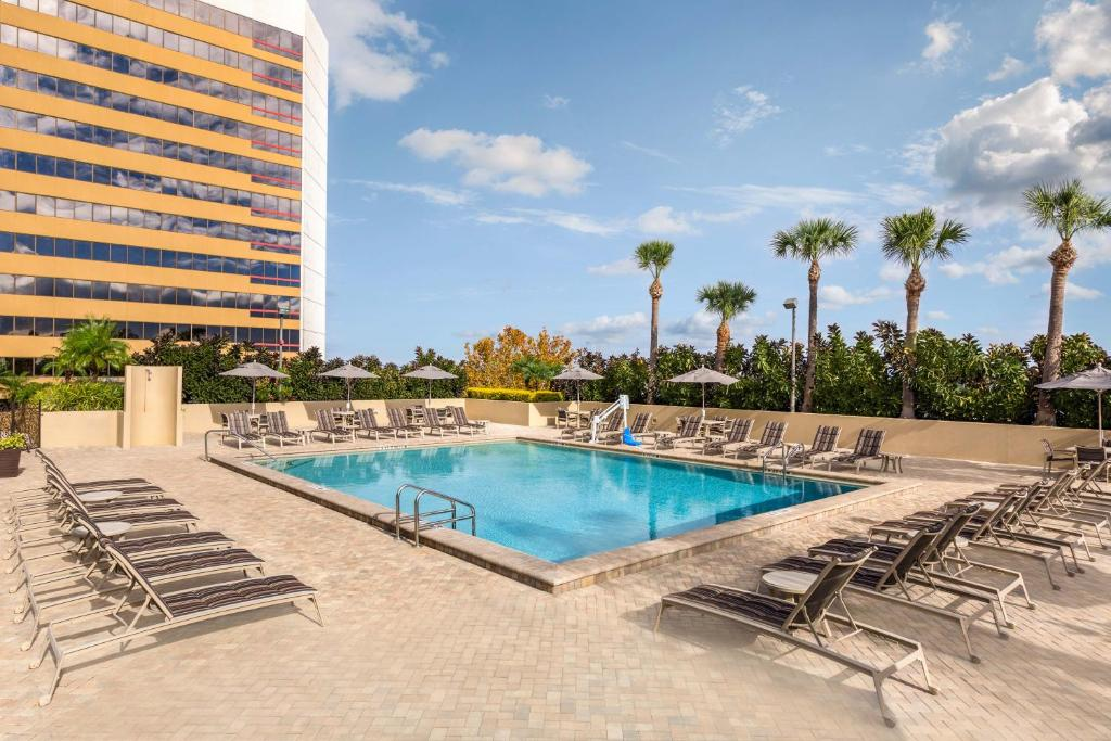 The swimming pool at or near DoubleTree by Hilton Orlando Downtown
