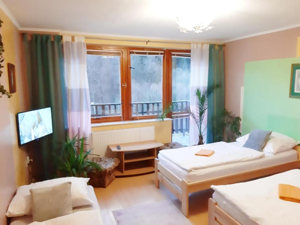 Postel nebo postele na pokoji v ubytování Penzion Havaj
