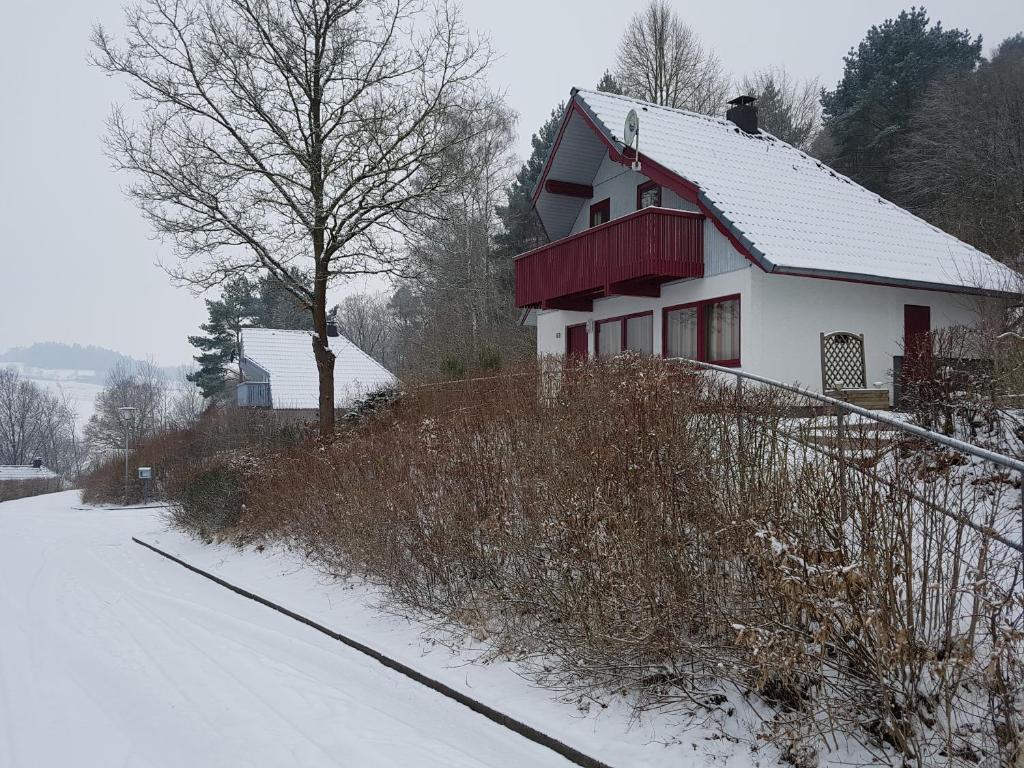 Ferienhaus im Seepark Kirchheim during the winter