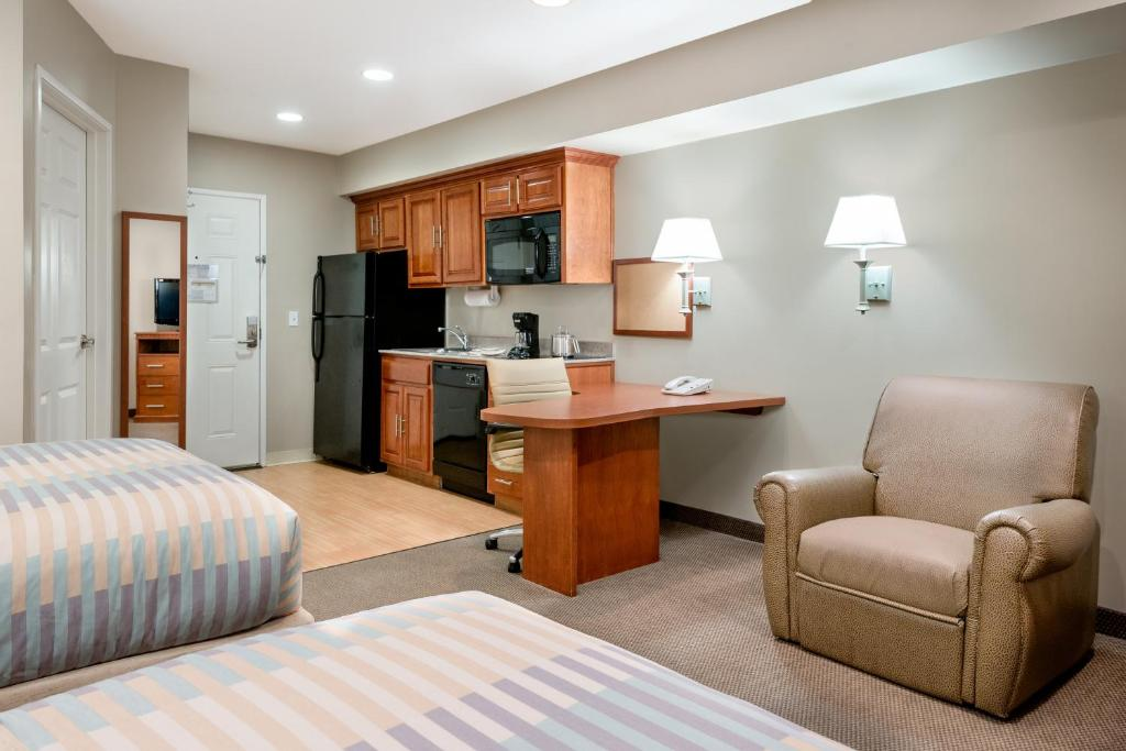A room at the Candlewood Suites LAX Hawthorne.