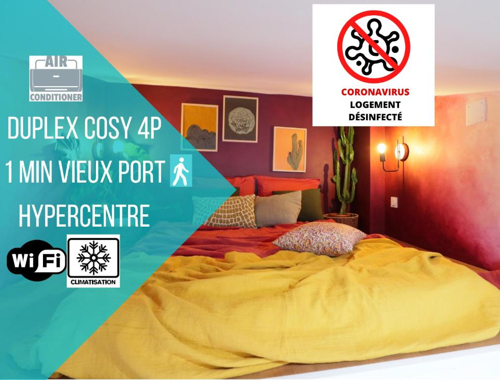 A bed or beds in a room at UniqueAppart - Vieux Port