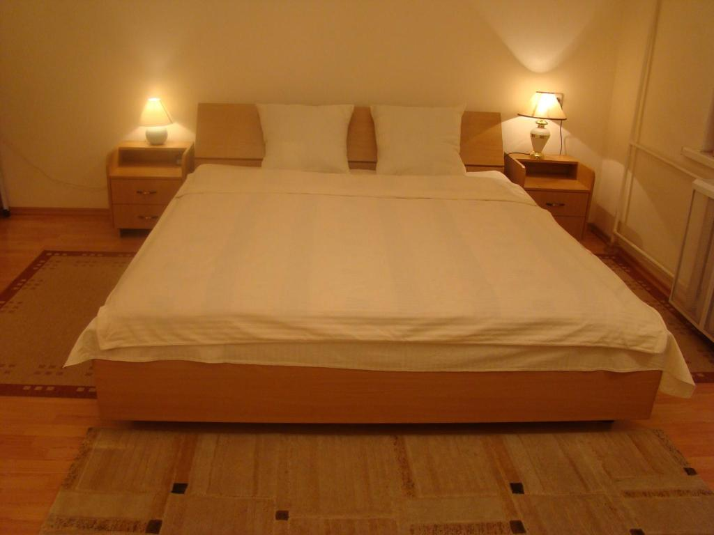 A bed or beds in a room at Alex Apartments on Puskinskaya