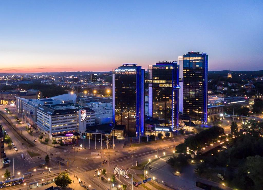 Ett flygfoto av Gothia Towers Hotel