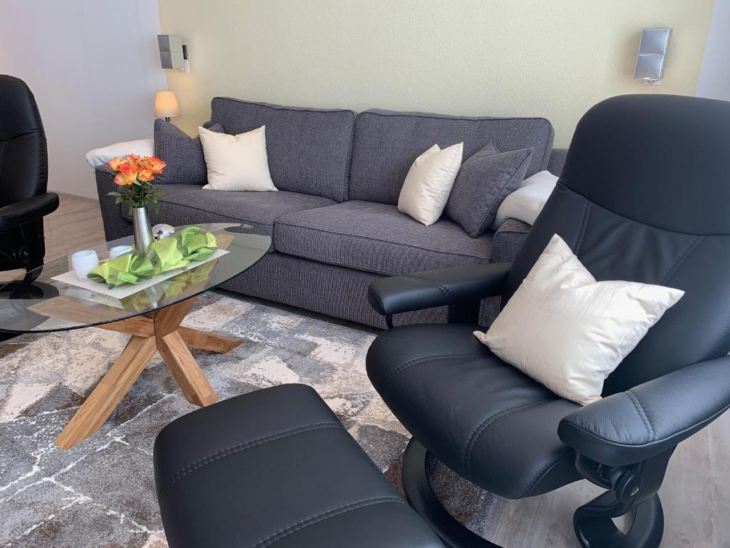 Ein Sitzbereich in der Unterkunft Ferienwohnungen Köhnke