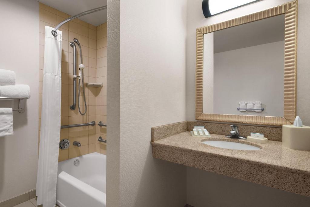 A bathroom at Hilton Garden Inn South Bend
