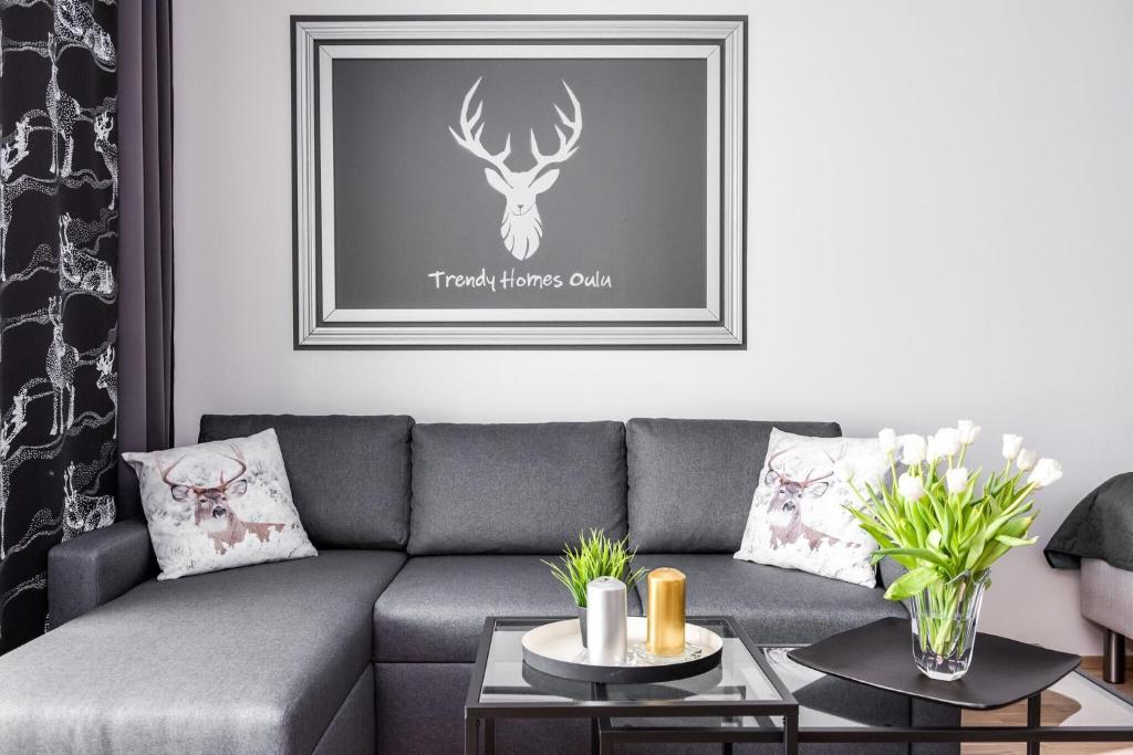 Oleskelutila majoituspaikassa Trendy Homes Oulu Deluxe Apartments