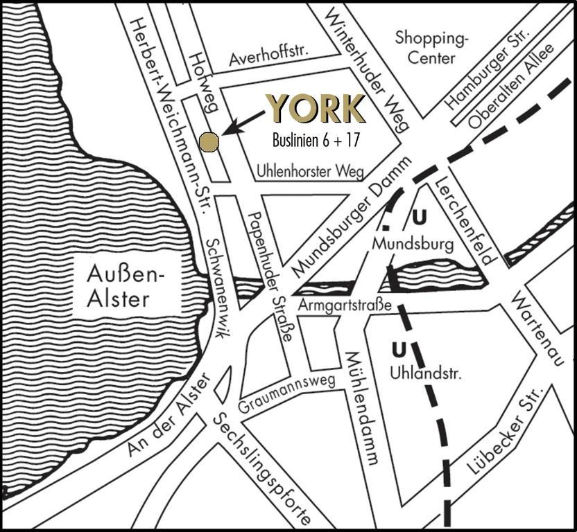 Blick auf Aparthotel York aus der Vogelperspektive