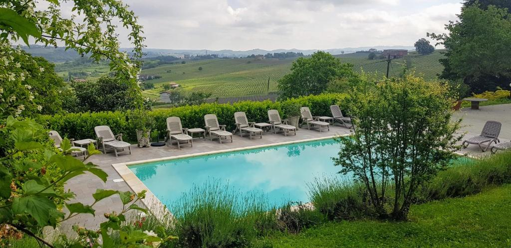 A view of the pool at Villa Bella Piemonte or nearby