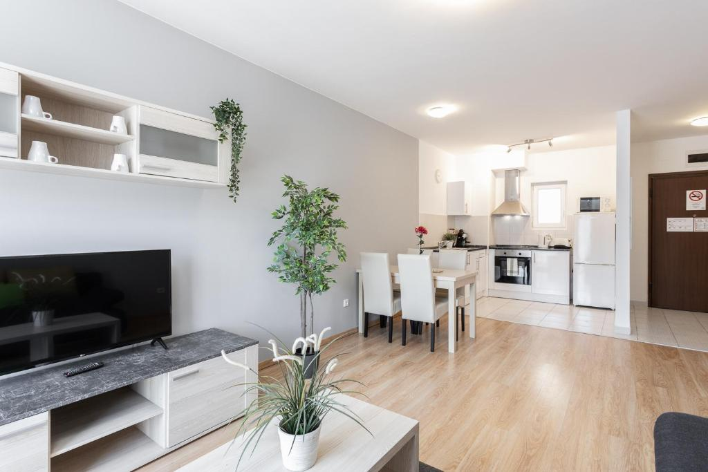 A television and/or entertainment centre at Maple Tree Budget Apartments