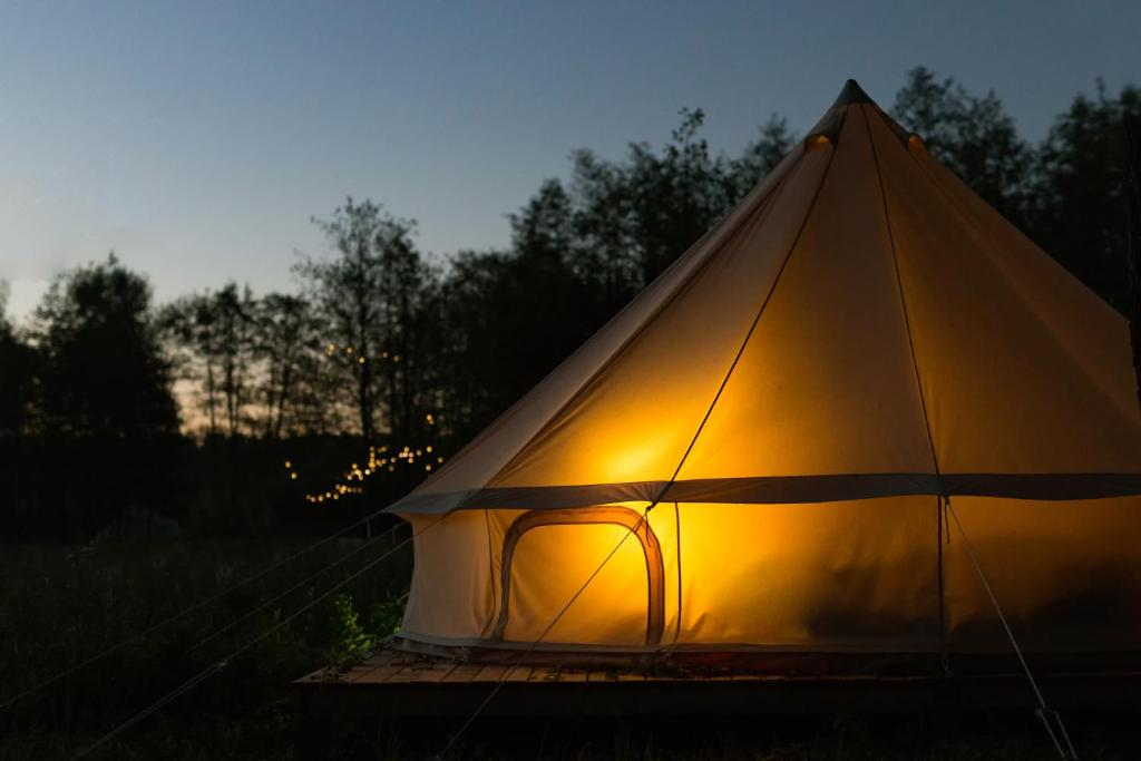 The sunrise or sunset as seen from the luxury tent or nearby