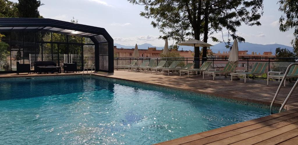 The swimming pool at or near Castel Vecchio