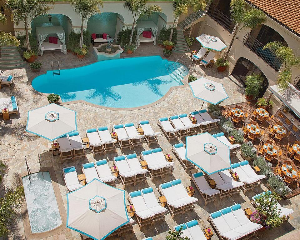 The swimming pool at the Beverly Wilshire.