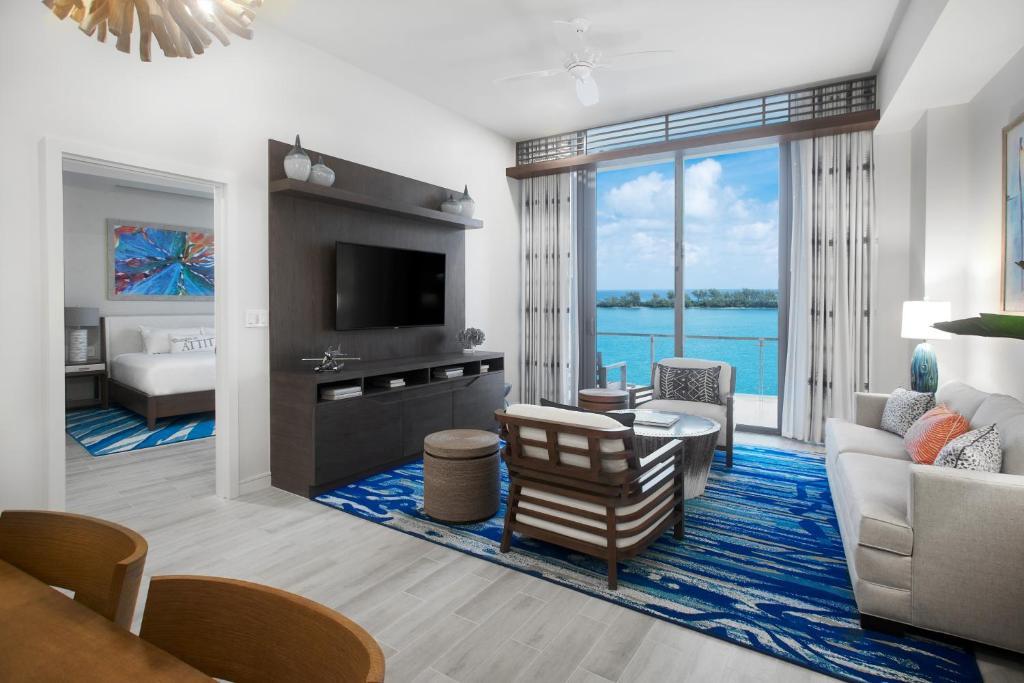 A seating area at Margaritaville Beach Resort Nassau