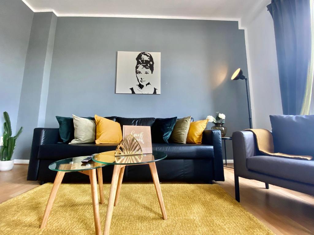 The lounge or bar area at Gemütliche Wohnung im Zentrum mit Netflix