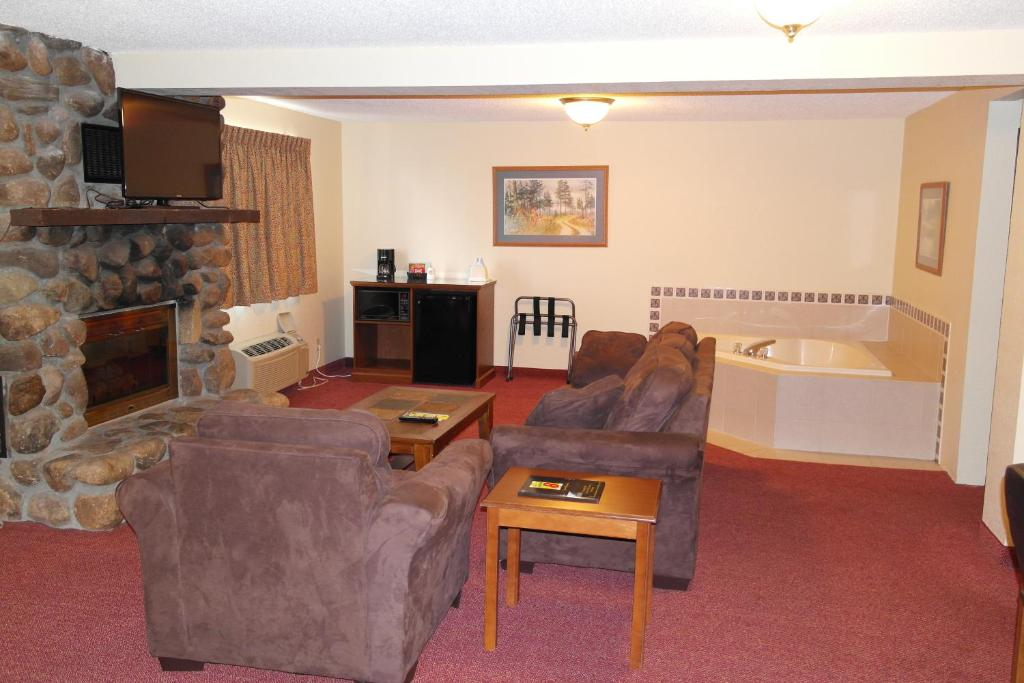 A deluxe king suite at the Super 8 by Wyndham Bemidji MN.