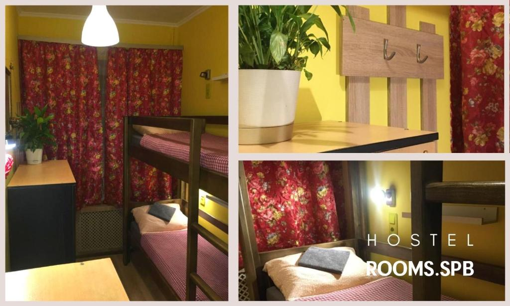 A bunk bed or bunk beds in a room at Rooms.SPb