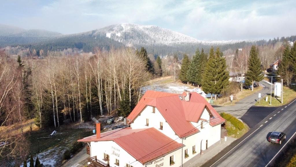 Letecký snímek ubytování Pension Aura Špičák