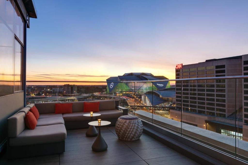 A view of the Mercedes-Benz Stadium from the rooftop of the Glenn Hotel.