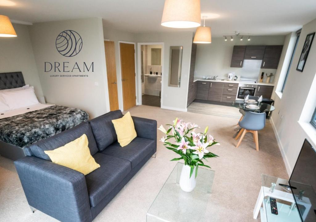 A seating area at Dream Apartments Manchester