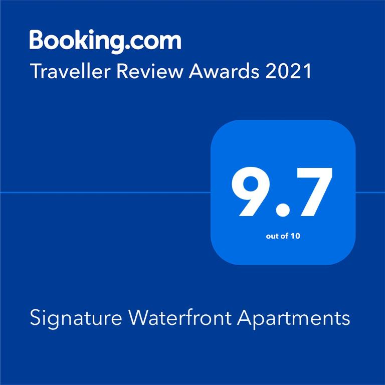 A certificate, award, sign, or other document on display at Signature Waterfront Apartments