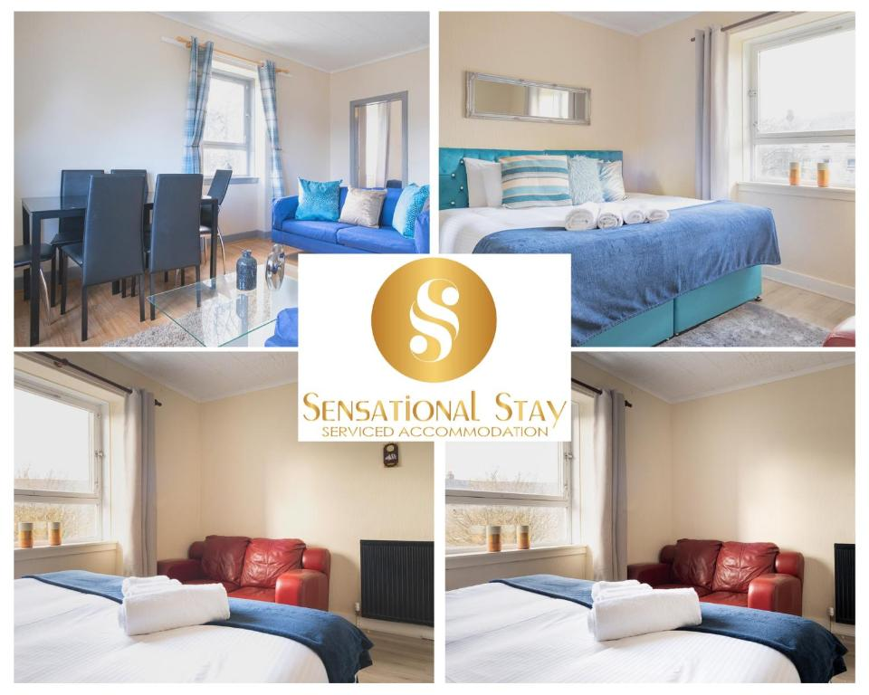 A bed or beds in a room at Great Value , Sensational Stay Serviced Accommodation Aberdeen 3 Bedroom Apartment - Powis Circle