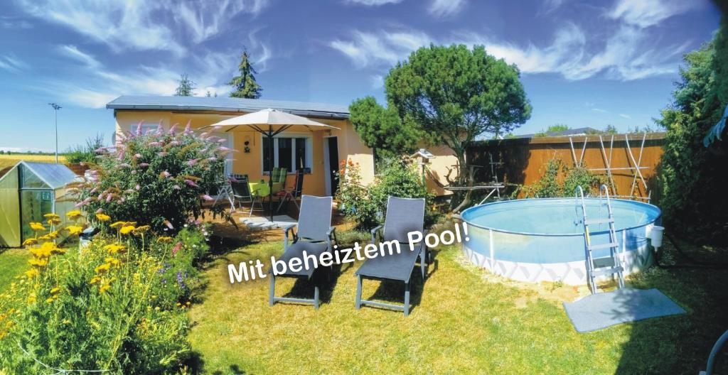 """Ein Blick auf den Pool von der Unterkunft """"Elbparadies"""" Ferienhaus am Niegripper See mit Pool oder aus der Nähe"""
