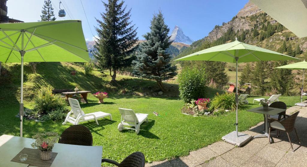 A garden outside Hotel Plateau Rosa