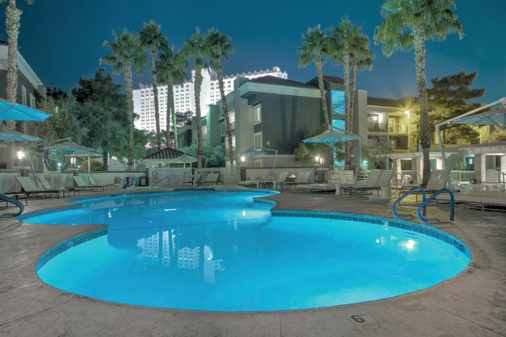 The swimming pool at the Desert Rose Resort.