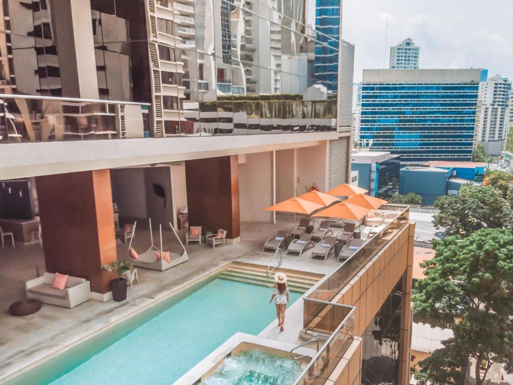 A view of the pool at Waldorf Astoria Panama or nearby