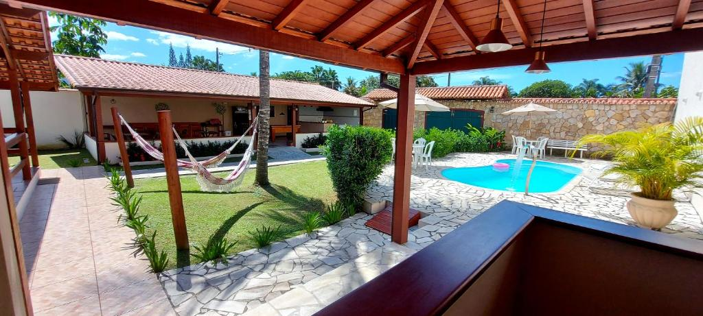 A view of the pool at Pousada das Saíras or nearby