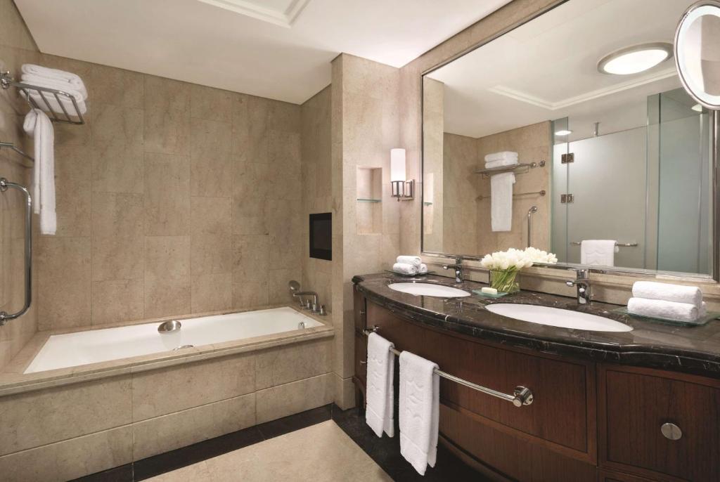 A bathroom at Shangri-La Jakarta