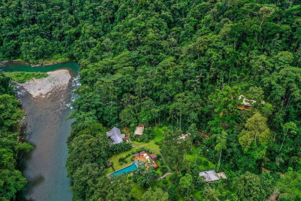 A bird's-eye view of Pacuare Lodge