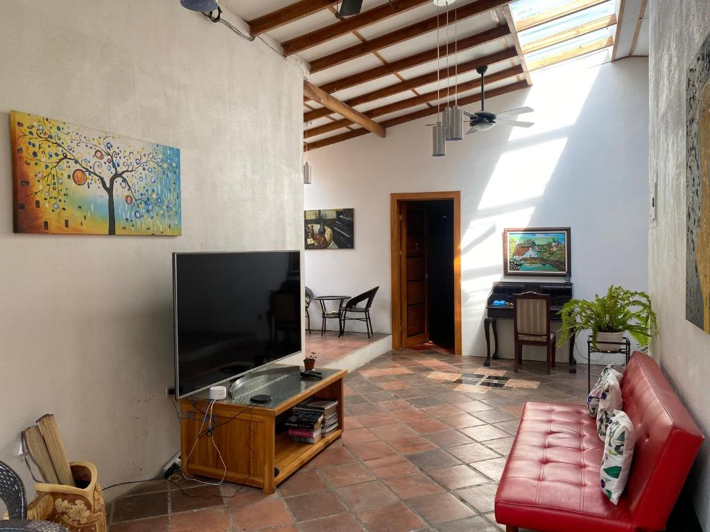 A television and/or entertainment center at Casa Mía