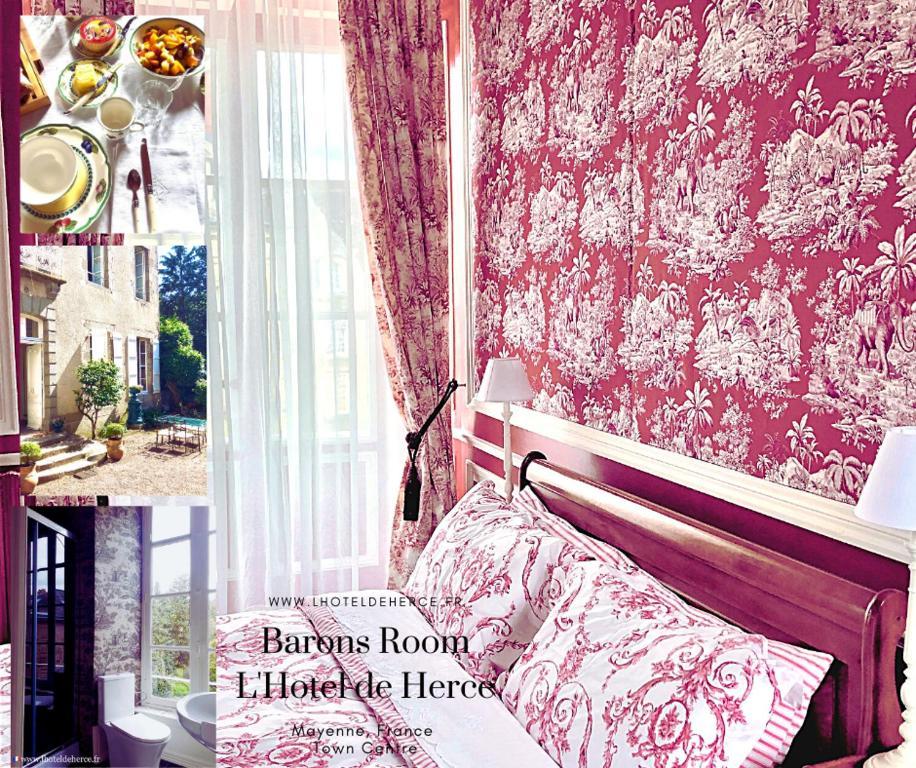 A bed or beds in a room at L'Hotel de Hercé Chambre d'Hote