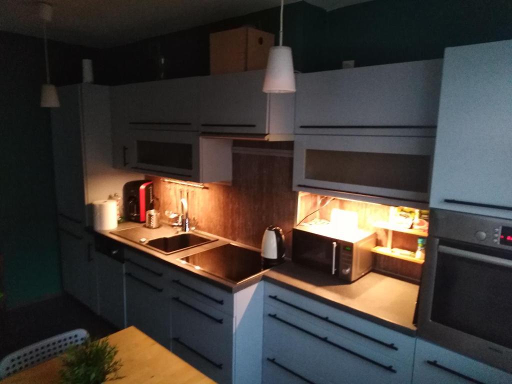 A kitchen or kitchenette at Apartament Swarzędz