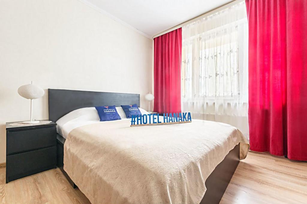 Кровать или кровати в номере Apartment Hanaka Kluchevaya 20