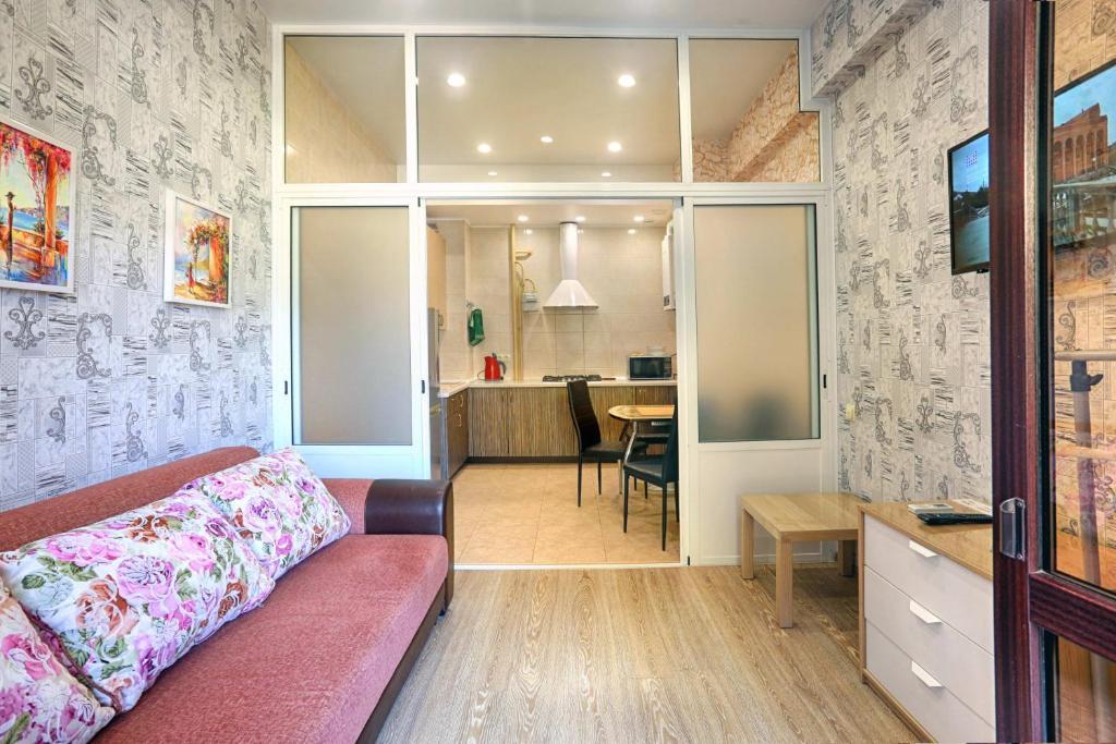 Гостиная зона в Apartment Kurortnyi Gorodok