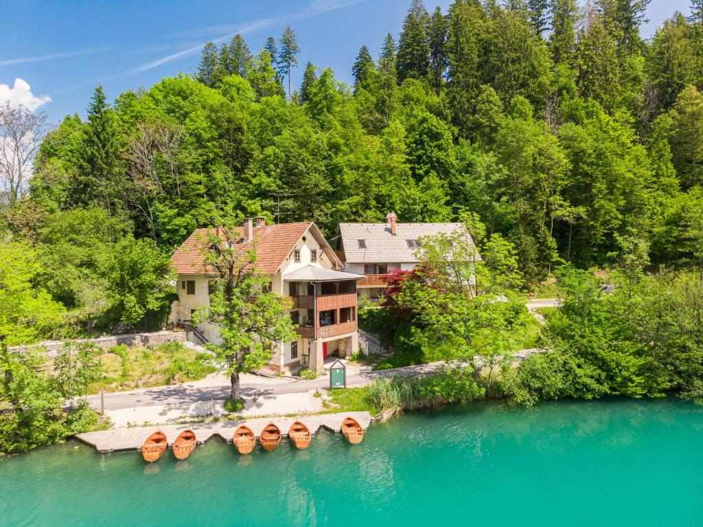 A bird's-eye view of Lake Bled Apartments