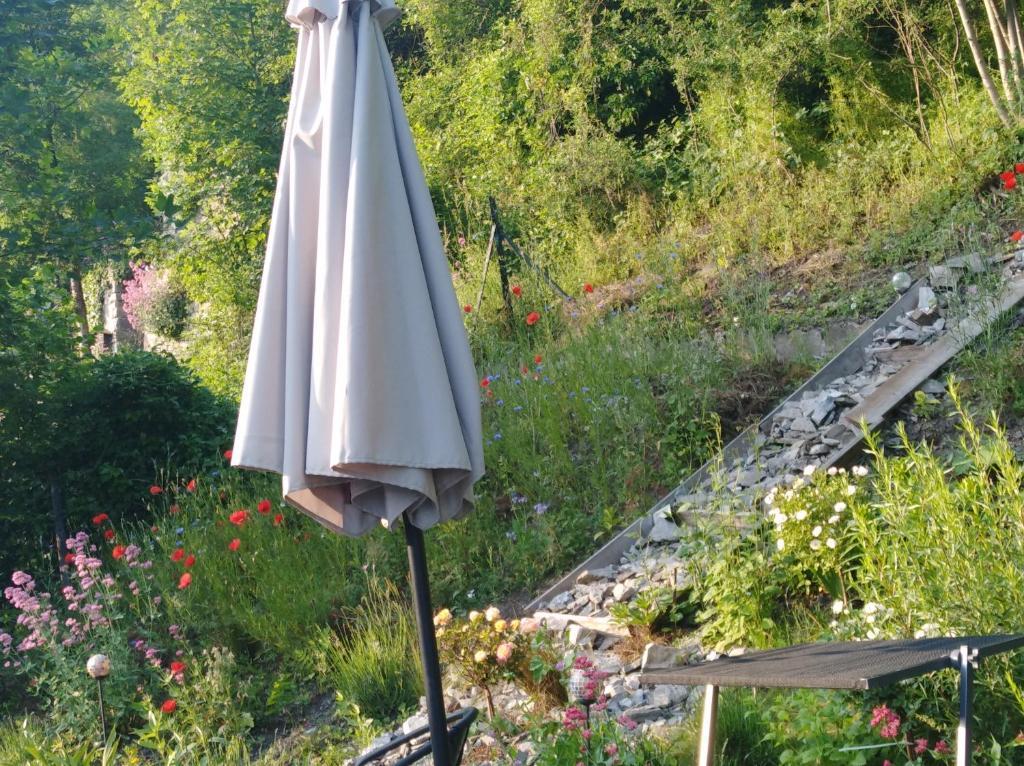 A garden outside Un studio à louer ds un endroit calme près de la ville de Dinant